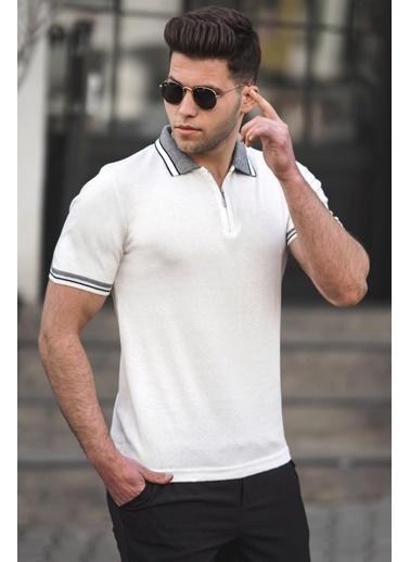 Madmext   Basic Polo Yaka Erkek Tişört 5099 Beyaz